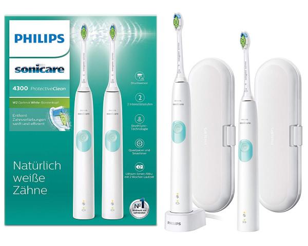 Philips Sonicare ProtectiveClean 4300 elektrische Zahnbürste 2 Reise-Etuis & Ladegerät – Weiß