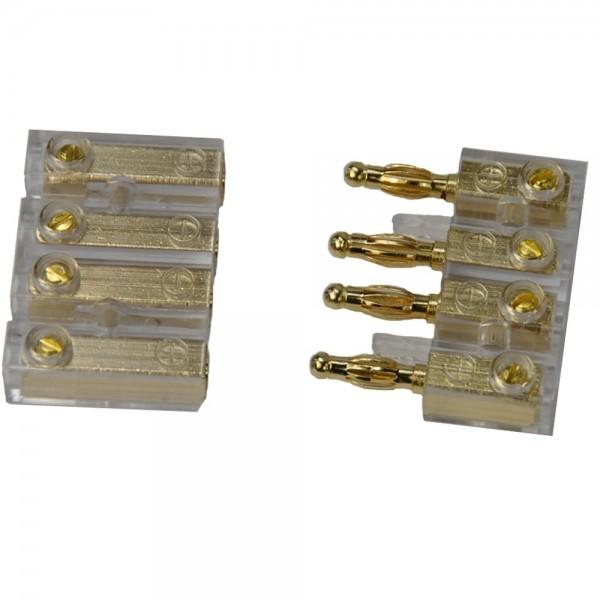 4-fach Audio Spezial Steckverbinder Stereo Buchse für Bananenstecker bis 4 mm²